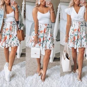 Dresses & Skirts - Women's High Wasted Floral Print Mini Skirt